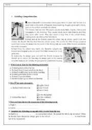 English Worksheet: varied English test