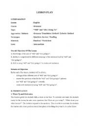 English Worksheet: Will / Be Going To Future