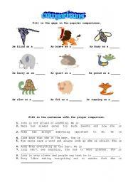English Worksheets: Animal comparisons