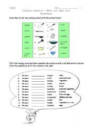 English Worksheet: Vocabulary - cooking
