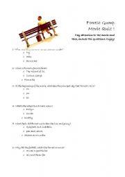 English Worksheets: Forrest Gump Movie quiz! (part 1)