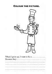 English Worksheets: clouring �when i grwo up