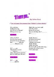 English Worksheets: If I were you- Celine Dion
