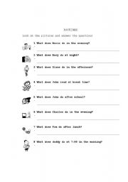 English Worksheet: Present Simple Questions (Routines)
