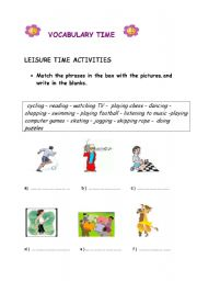 english teaching worksheets leisure time activities. Black Bedroom Furniture Sets. Home Design Ideas