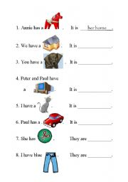 math worksheet : english teaching worksheets possessive adjectives : Adjectives For Kindergarten Worksheets