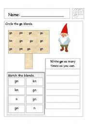 English Worksheets: Tricky words - gn