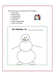 English Worksheet: Dress Your Snowman