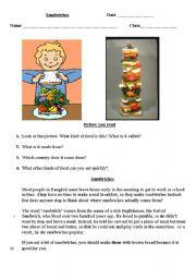 English Worksheet: Sandwiches