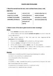 English Worksheets: Rights and Privileges