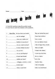 English Worksheets: Question words worksheet