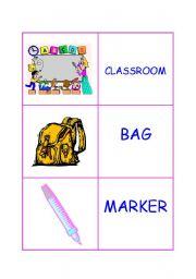 Classroom vocabulary - memory, snap
