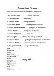 Printables Prepositional Phrases Worksheet english teaching worksheets prepositional phrases phrases