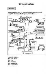 giving directions esl worksheet by ritona23. Black Bedroom Furniture Sets. Home Design Ideas