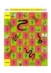 English Worksheet: CHRISTMAS SNAKES AND LADDERS