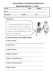 TEST 5TH GRADE - ESL worksheet by celiamc