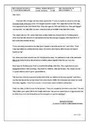 English Worksheets: reading comprehension intermediate