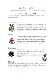 English Worksheet: Christmas traditions / a recipe