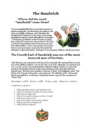 English Worksheet: History of the sandwich