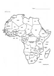 Africa Geography Map Worksheet - Worksheets