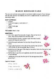 English Worksheets: Magic message card