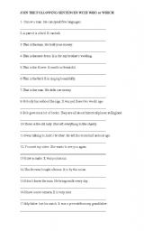 English Worksheets: RELATIVE CLAUSES- Combining the sentences using Who or Which.
