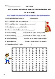 English teaching worksheets: Little Red Riding Hood