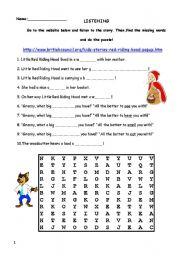 English Worksheet: Little Red Riding Hood