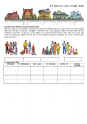 English Worksheets: Families and their pets 1
