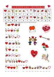 English Worksheet: VALENTINES DAY CRYPTOGRAM