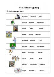 English Worksheets: jop