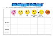 English Worksheets: LIKES & DISLIKES CLASS SURVEY