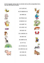 English Worksheet: Idioms of comparison - animals