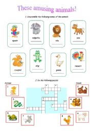 English Worksheets: Amusing Animals