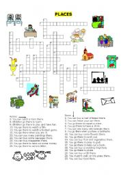 English Worksheet: places in a town crossword