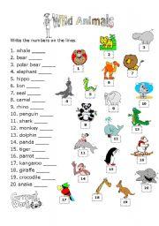 English Worksheets: ANIMALS MATCHING ACTIVITY