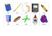 English Worksheet: School item flashcards for TPR activities