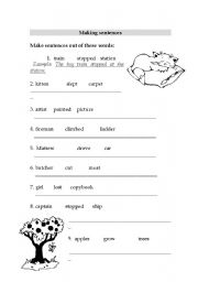 English Worksheets: working with sentences