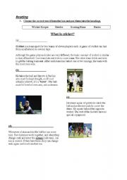 English Worksheet: explanation of cricket (part 2)
