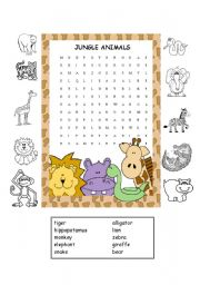 English Worksheet: Jungle Animals Worksheet #2