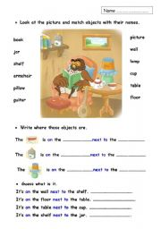 English Worksheet: Prepositions and furniture