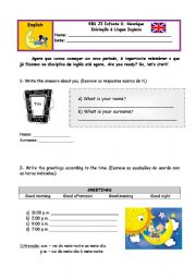 English Worksheets: revisions - id, greetings, numbers