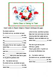 English Worksheet: Santa Claus is Coming to Town