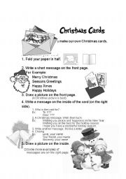 English Worksheet: How to make Christmas cards