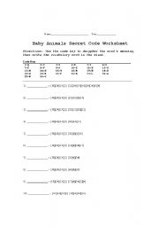 English Worksheet: Baby Animals Secret Code Worksheet