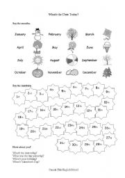 English Worksheet: Dates and Ordinal Numbers