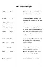 English Worksheet: Present Simple Questions
