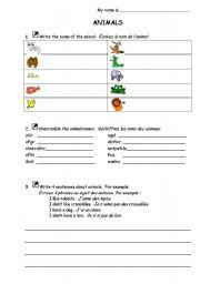 English Worksheets: Basic Animals