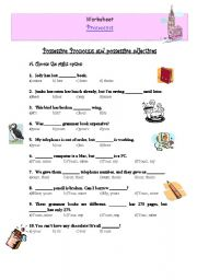 Printables Possessive Pronouns Worksheet english exercises possessive pronouns and adjectives level intermediate age 14 17 downloads 1395