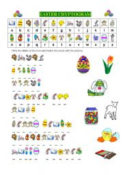 English Worksheet: EASTER CRYPTOGRAM